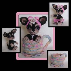 """TeaCup Chihuahua Crochet Pattern - via @Craftsy, 6"""" tall sitting dog, 3x5"""" cup, $5.50 pattern"""
