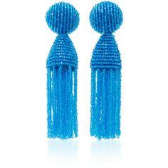 Oscar de la Renta Short Beaded C Tassel Earrings ($345) ❤ liked on Polyvore featuring jewelry, earrings, blue, clip earrings, blue tassel earrings, beading earrings, clip on earrings and tassel jewelry
