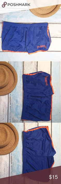 Florida Mesh Workout Shorts Blue and orange Florida Mesh Workout Shorts. Size XL. Perfect for Workout or comfy lounge wear. No modeling. Smoke free home. I do discount bundles. Pro Edge Shorts