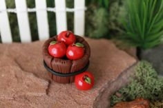 Mini pommes - Polymer Clay pommes - Terrarium accessoire - Fairy Garden - Jardin de Miniature - jardin de Gnome