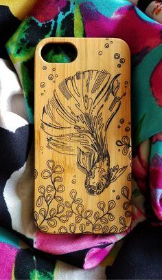 Betta Fish bamboo wood iPhone case