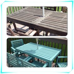 Before and after outdoor table and chairs painted with Annie Sloan Chalk Paint Provence. FYI - one year later update, this did not hold up at all.  Almost all paint has chipped and flaked off. In very harsh weather conditions however.