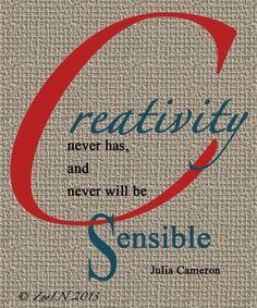 "Venn diagram of creativity and ""sense""."