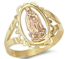 Size- 8 - Yellow n Rose Two Tone Gold Virgin Mary Ring. Two-Tone Gold mary ring. This ring has a dazzling high polish finish. Pure Gold, not plated. This ring is absolutely stunning and we are confident you will love it. Sweet 16 Rings, Cute Jewelry, Jewelry Accessories, Religious Jewelry, Virgin Mary, Special Gifts, Jewelry Collection, Gold Rings, Jewelery