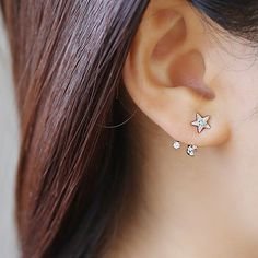 Brass mix S925 Ditsy Star & Moon Ear Jacket. by LoopsandGrains
