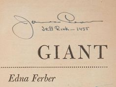 James Dean's signature for the film Giant.