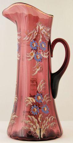 Victorian Tankard Pitcher Amethyst Glass Hand Painted Blue Enamel Daisy Flowers