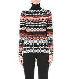 KAREN MILLEN - Graphic geometric knitted jumper   Selfridges.com