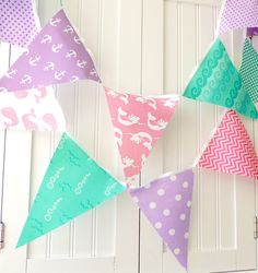 Nautical Mermaid Bunting, Banner, Fabric Pennant Flags Girl Birthday Party, Mint, Purple, Pink, Anchors, Whale, Baby Shower, Nursery Garland by vintagegreenlimited on Etsy https://www.etsy.com/listing/194422325/nautical-mermaid-bunting-banner-fabric