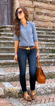 Denim is an essential dress for ladies to increase individual appearance, explore a collection of fall outfit ideas with denim shirts for women to look elegant & stylish Fashion Mode, Look Fashion, Autumn Fashion, Womens Fashion, Mode Outfits, Fall Outfits, Casual Outfits, Fashion Outfits, Summer Outfits