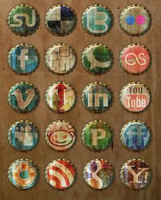 Social Media Icons - Bottle Cap Style