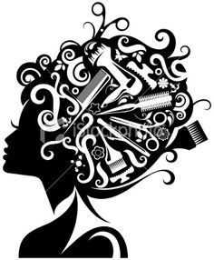 Scissors and Comb Clip Art | Lady's silhouette with hairdressing accessories. - Stock Illustration ...