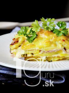 Vrstvené zemiaky zapečené so šunkou a syrom