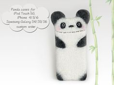 Felt Panda case for iPod 5 for iPhone 4/ 5/ 6 for by EthicStyle