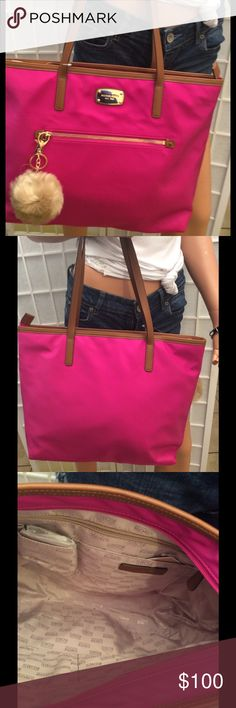 NWT  Michael Kors Tote bag Size large, fuchsia color, zipper closure, inside 4 open pockets and 1 zipper, front 1 zipper pocket include pompom size large. Thank you for looking Bags Satchels