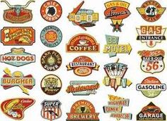 "Graphic designers in the popularized logo design and started a trend of ""corporate identity."" Since then, most companies seek talented artists to design their logos. Pinned by Edward Ruano Vintage Logo, Vintage Labels, Vintage Signs, Retro Vintage, American Logo, Image American, Painted Signs, Shop Signs, Sign Design"