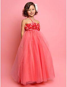 A-line Halter Floor-length Tulle Flower Girl Dress – USD $ 64.99
