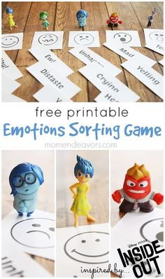 Free Printable Emotions Sorting Game inspired by Disney-Pixar's Inside Out! A great way to help kids learn about emotions!Tap the link to check out great fidgets and sensory toys. Check back often for sales and new items. Emotional Regulation, Emotional Development, Counseling Activities, Activities For Kids, Articulation Activities, Aba Therapy Activities, Disney Activities, Social Skills Activities, Therapy Games