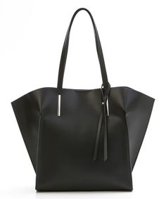 Look what I found on #zulily! Black Raw Edge Leather Tote by Mila Blu #zulilyfinds