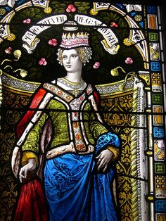 Lerwick Town Hall: stained glass window: Queen Margaret of Norway, wife of King James III