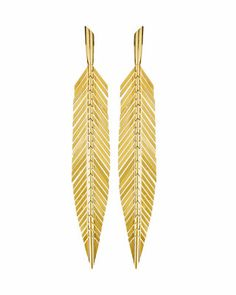 Medium feather drop earrings by CADAR. 18k Gold Earrings, Leaf Earrings, Fine Jewelry, Women Jewelry, Pink Sapphire, Designer Earrings, Ear Piercings, Neiman Marcus, Feather