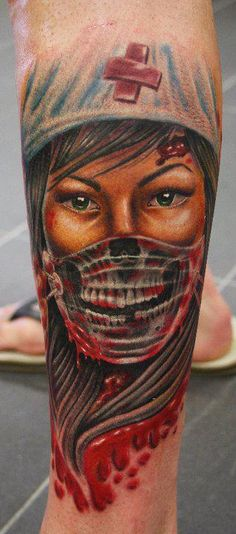 awesome nurse tattoo, I wouldn't have it but I love how well it is done. Good Job.