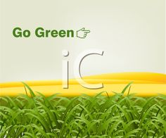 iCLIPART - Royalty Free Clipart Image of a Go Green Background With Grass and a Pointing Hand