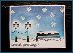 """Christmas card made using Lawn Fawn """"Winter in the Park"""" set."""