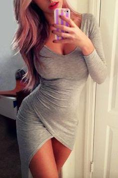 Sexy Plunging Neck Long Sleeve Bodycon Asymmetrical Dress For Women