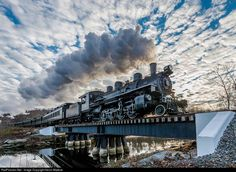 The Steam Channel............................. Under a pretty mackerel sky, Engineer Brian Messinger takes Valley Railroad Mikado #40 and the 2:30 edition of the Santa Special across Deep River Creek, on the run to North Chester on November 29, 2014 . Photo by Kevin Madore