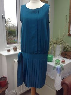 True VintageTeal Etam 80 s Drop Waist Dress in 20 s Style size 12   £22.50 (BIN)