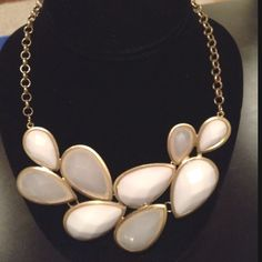 White stone statement necklace.