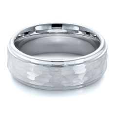 Men's Tungsten Ring with Hammered Finish | Joseph Jewelry Seattle Bellevue