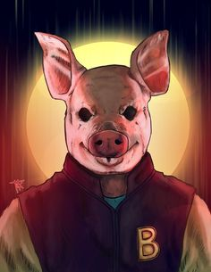 Jacket by Tharkim, hotline miami pig mask, fan art, digital painting, illustration
