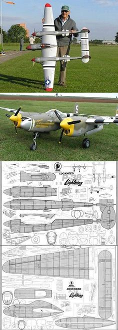This is an easy scratch build project, and a great flying model. The first photos are examples of a completed model, and/or a real airplane, not being sold. not the airplane and not the Model. Remote Control Boat, Radio Control, Rc Model Aircraft, Rc Airplane Kits, Rc Plane Plans, Rc Model Airplanes, Rc Hobbies, Scale Model, Lightning