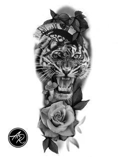 Chicanas Tattoo, Forarm Tattoos, Rose Tattoos, New Tattoos, Sleeve Tattoos, Tattoos For Guys, Tiger Tattoo Design, Tiger Design, Tattoo Design Drawings