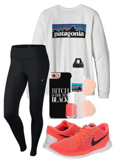 """""""naranja"""" by sofiaestrada ❤ liked on Polyvore featuring NIKE, Patagonia, Essie and Ray-Ban"""