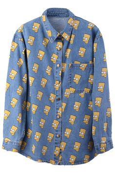 """Cartoon Portrait Head"" Light Blue Shirt, The Latest Street Fashion"