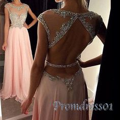 2016 beautiful open back pink chiffon long prom dress with sequins top, ball gown, modest prom dress #coniefox #2016prom