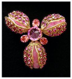 Schreiner Oversize Three Petaled Glass Bloom Brooch with Inverted Rhinestones   eBay