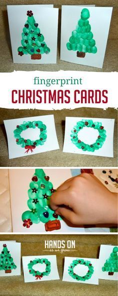 Christmas cards for kids to make using their own finger prints! How cute! Parents and grandparents will love getting these cards this holiday! #holiday #kids