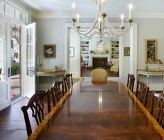 traditional dining room by Norris Architecture - add beads along arms to thrift store chandelier