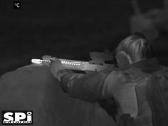 Thermal image of a shooter in white hot. #Thermalscopes #FLIR #military From SPI Corp, www.x20.org