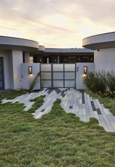 """interesting and creative, but not sure I'd actually want it in my yard . but perhaps the concept could be tweaked. narrow modular pavers for a """"torn"""" hardscape edge. Landscape Architecture, Landscape Design, Architecture Design, Garden Design, Outdoor Spaces, Outdoor Living, Paver Designs, Paving Pattern, Paving Design"""