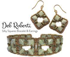 Silky Squares Bracelet and Earrings beaded pattern tutorial by Deb Roberti by DebRoberti on Etsy https://www.etsy.com/listing/509143632/silky-squares-bracelet-and-earrings