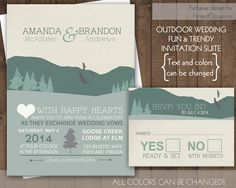 wedding invitation suite sample mountains colorado kraft paper, invitation samples