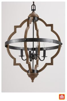 This unique fixture is perfect for the hall, foyer or dining room! It has a distressed oak finish with stardust oak accents. This light fixture is part of the Socorro collection.