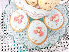 Speckled easter egg sugar cookies w/ rose accents