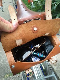 Bike Saddle Bag Leather and Oak Wood by TheLeatherLoftNE on Etsy