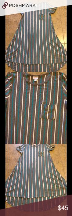 👗👗👗👗Lularoe Dress👗👗👗👗 👗👗👗👗Lularoe gray, white, and teal colored striped dress. With a high/low hem. Made from 95% rayon and 5% spandex. It's in excellent condition.👗👗👗👗 LuLaRoe Dresses High Low